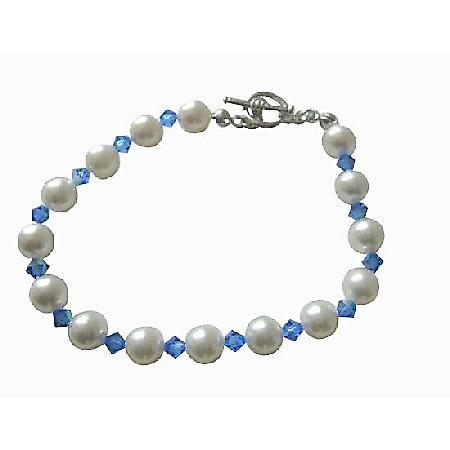 Sapphire Swarovski Crystal w/ White Pearl Bracelet Handmade Genuine Swarovski Pearls & Crystal