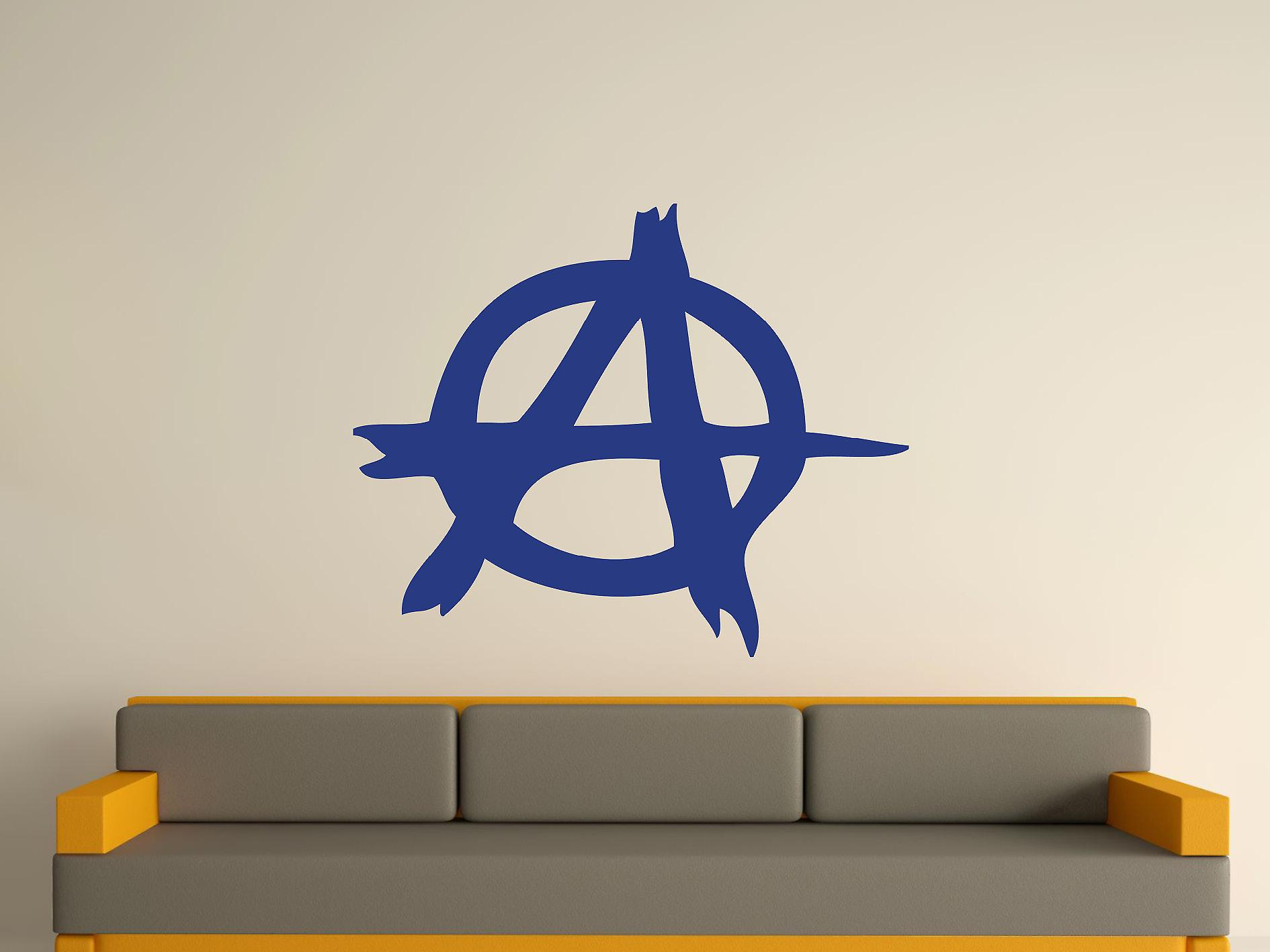 Anarchy Symbol Wall Art Sticker - Azure