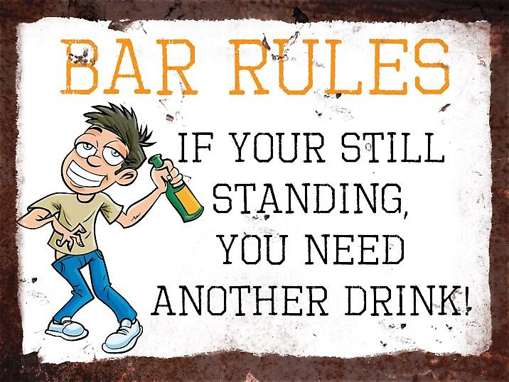 Vintage Metal Wall Sign, Bar Rules version 2
