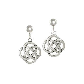 Eternal Collection Celtic Dara Knot Sterling Silver Drop Clip On Earrings