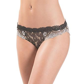 Aubade HC27-ORNR Women's Belle d'Ispahan Black Embroidered Knickers Panty Italian Brief