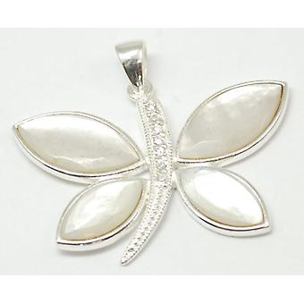 TOC Sterling Silver Mother of Pearl Dragon Fly Pendant Necklace 18
