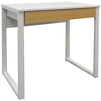 Loop - compatta Workstation ufficio / scrivania del Computer / medicazione tavolo - bianco / rovere