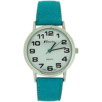 Ravel Ladies Jumbo White Dial & Aqua Blue PU Buckle Strap Watch R0105.13.16