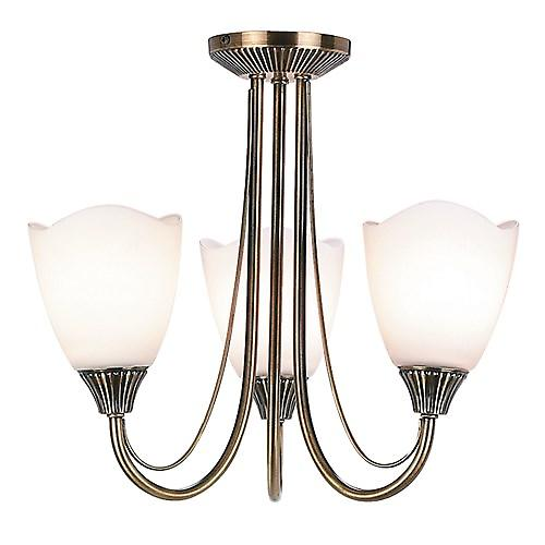 Endon 601-3AN Traditional 3 Arm Semi-Flush Ceiling Light With Opal Glass