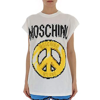 Camiseta de algodón blanco de Moschino