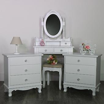 White Bedroom Set, Dressing Table, Mirror, Stool & 2 Chests - Lila Range
