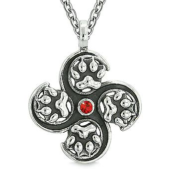 Supernatural Wild Wolf Paw All Forces of Nature Powers Amulet Cherry Red Crystal Pendant 22 Inch Necklace