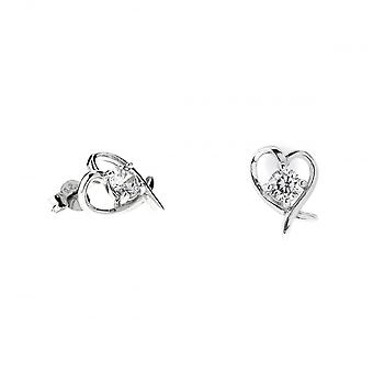 Eternity Sterling Silver Cubic Zirconia Heart Stud Boucles d'oreilles
