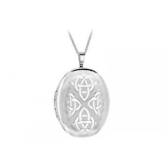 Eternity Sterling Silver Large Oval Celtic Pattern Locket And Chain