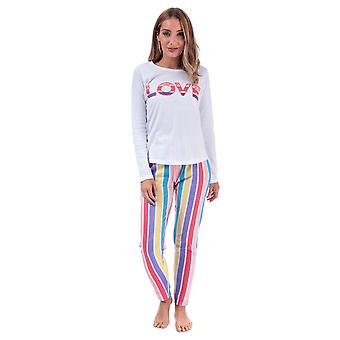Womens Brave Soul Love Striped Pyjamas In White Multi