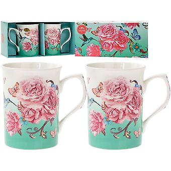 Oriental Blossom Mugs (Set Of 2)