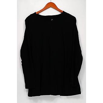 Denim & Co. Top Essentials Long Sleeve Round Neck Black A285820