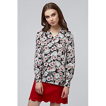 Louche Ismelda Floral Balloon Sleeve Blouse Black