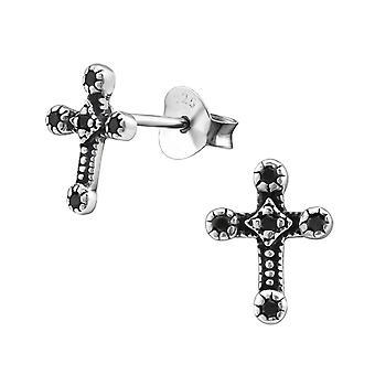 Cross - 925 Sterling Silver Cubic Zirconia Ear Studs - W30822X