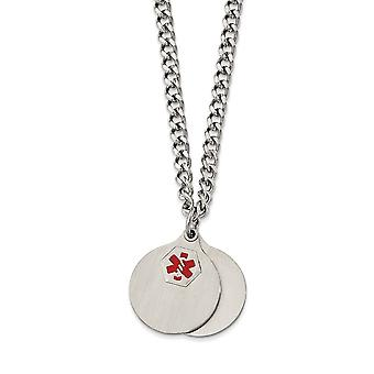 Stainless Steel 2 Piece Medical Pendant Necklace - 26 Inch