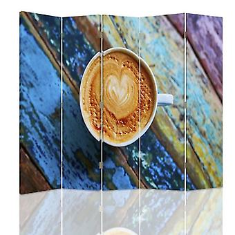 Room Divider, 5 Panels, Double-Sided, 360 ° Rotatable, Canvas, Coffee 2