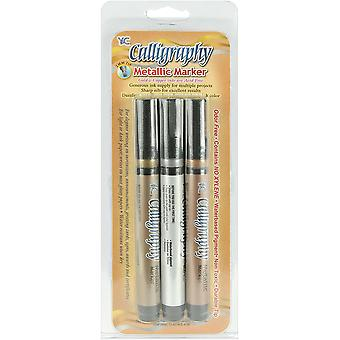 Calligraphy Metallic Markers 2Mm Tip 3 Pkg Silver Gold Copper Nsc703m