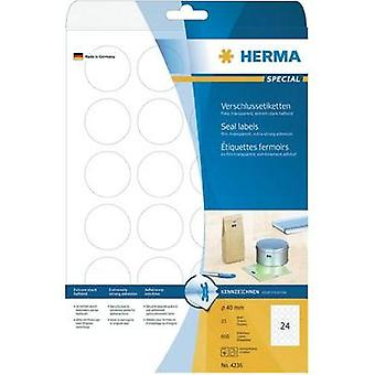 Herma 4236 Labels (A4) Ø 40 mm Film Transparent 600 pc(s) Permanent Safety stickers, All-purpose labels Laser, Copier