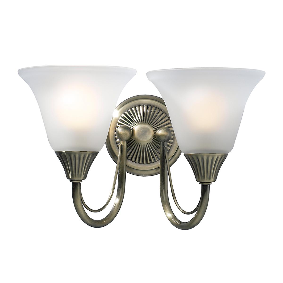 Dar BOS09 Boston Traditional Switched Double Wall Light With Frosted Glass