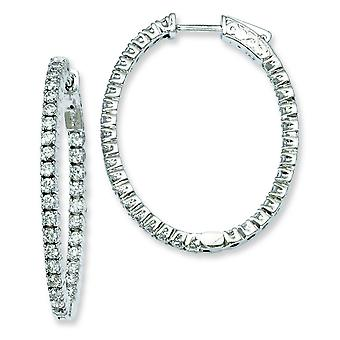 Sterling zilveren Rhodium Plated met CZ scharnierend ovale Hoop Earrings Hoop Earrings