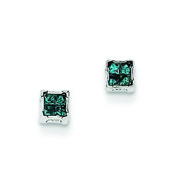 Sterling Silver Blue Princess Cut Diamond Post Earrings - .12 dwt