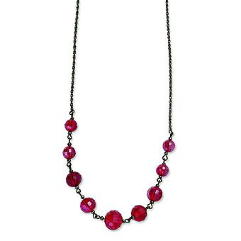 Svart-plated Red Crystal Beaded 16 tum med ext halsband