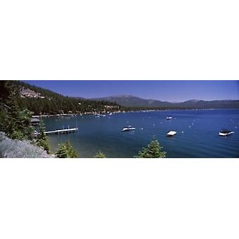 Boats in a lake with mountains in the background Lake Tahoe California USA Poster Print