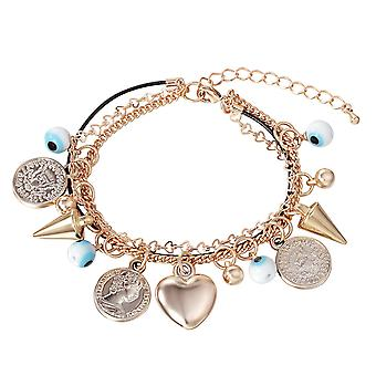 14K Gold Plated Heart Charm Bracelet, 19.5cm