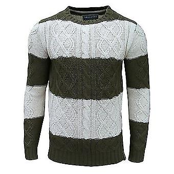 Soul stjerne mænds skinke 1 stribet Crew Neck kabel Strik to Tone Jumper