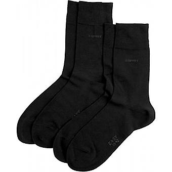 Esprit Basic Soft Cuff 2 Pack Socks - Black