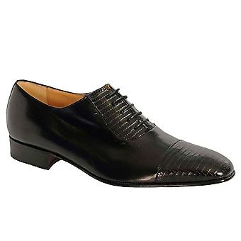 Paco Milan Granada Black Leather Skin Lace Up