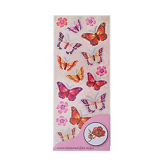 Verkauf - Anitas Dimensionen Butterfly Wings 3D Sticker Sheet - Rot/Pink Mix