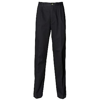 Henbury Mens Teflon� Stain Resistant Coated Pleated Chino Work Trousers / Pants