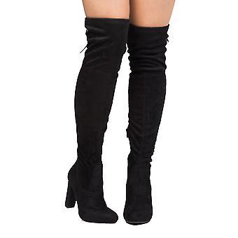 Acima joelho camurça volta do falso Tie botas preto