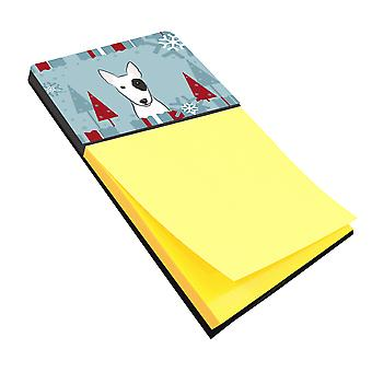 Carolines Treasures  BB1705SN Winter Holiday Bull Terrier Sticky Note Holder