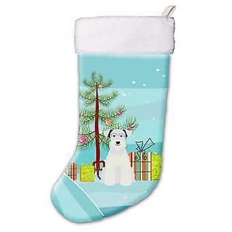 Merry Christmas Tree Miniature Schanuzer White Christmas Stocking