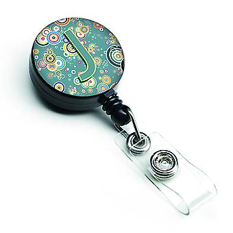 Letter J Circle Circle Teal Initial Alphabet Retractable Badge Reel