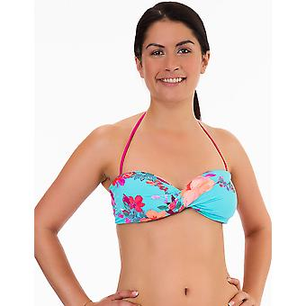 Womens Mio Swim Blue and Pink Floral Print Ladies Bikini Twisted Bandeau Top