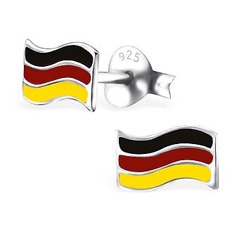 Germany Flag - 925 Sterling Silver Colourful Ear Studs