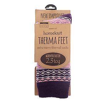 Homeknit Ladies Thermal Socks UK 4-8, Purple