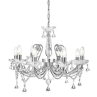 Lafayette Chrome And Crystal Eight Light Ceiling Light - Searchlight 1398-8cc