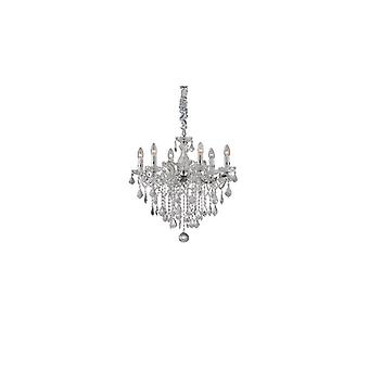 Florian Chrome And Clear Glass Six Light Chandelier With Crystals - Ideal Lux 35628