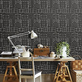 Chateau Anthracite Wallpaper - 3 x rolls