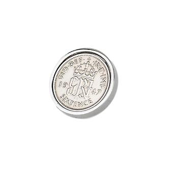 Genuine Polished 1947 Sixpence in Lapel Pin | 1947 anniversary, 71st birthday
