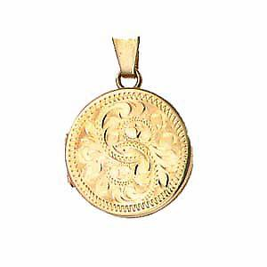 9ct Gold 20mm engraved flat round Locket