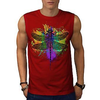 Libelle Insekt Tier Männer RedSleeveless T-shirt | Wellcoda