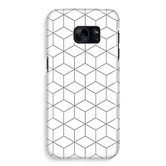 Samsung S7 Full Print Case - Cubes black and white