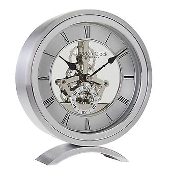 16cm Silver Round Skeleton Mantel Clock