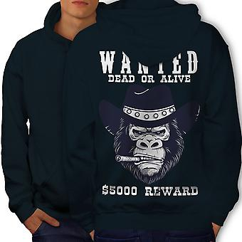 Cowboy Bad Monkey Face Men NavyHoodie Back | Wellcoda